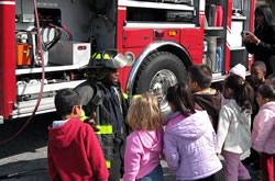 Group of Head Start students visiting the fire department